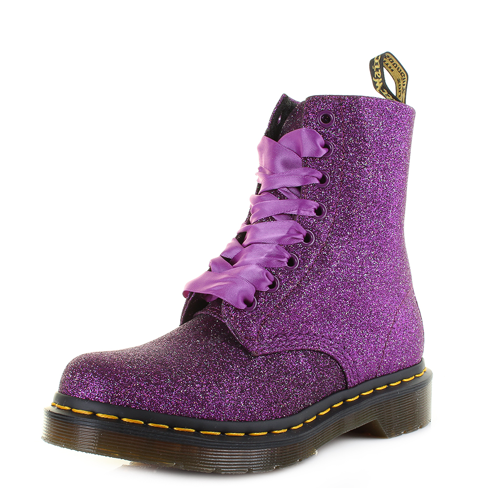 Womens Dr Martens 1460 Pascal Glitter Purple Multi Ankle Boots Size ... 18151f0a948a