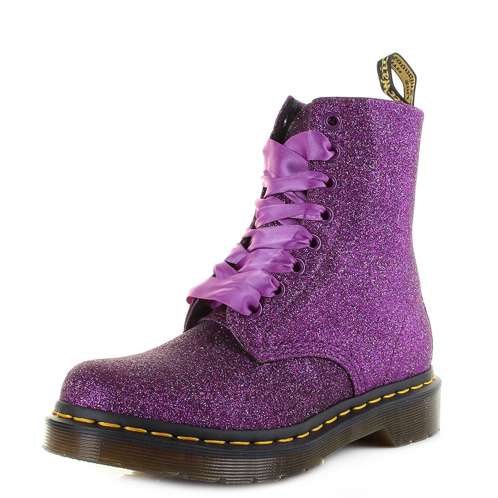 Details about Womens Dr Martens 1460 Pascal Glitter Purple Multi Ankle Boots Size
