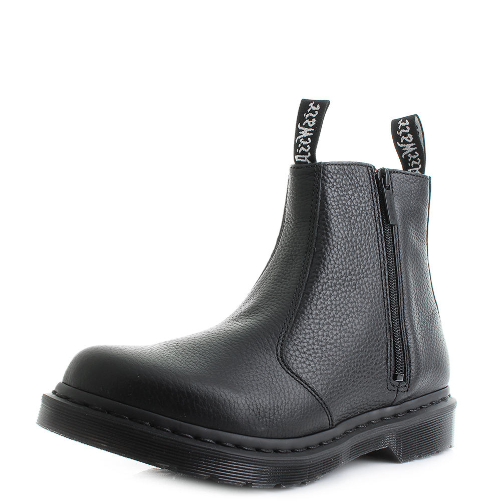 Womens Dr Martens Aunt Sally Black Leather Zip Up Chelsea Ankle Boots Size 01b2ce1aec78