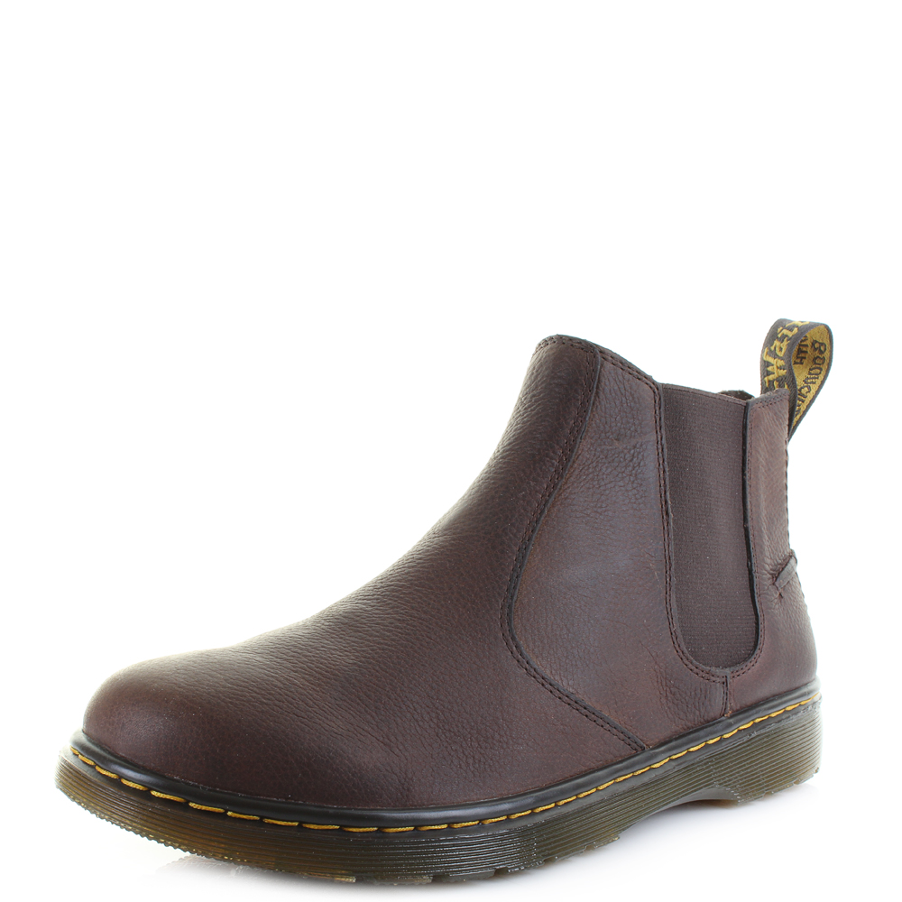 1a8b766b257f Mens Dr Martens Lyme Dark Brown Grizzly Chelsea Leather Ankle Boots Size