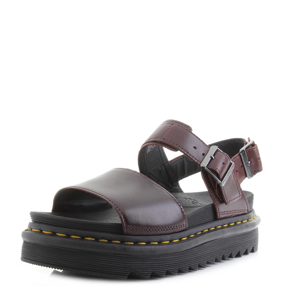 3edbf4e8122f Womens Dr Martens Voss Charro Brando Deep Red Leather Platform Sandals Size