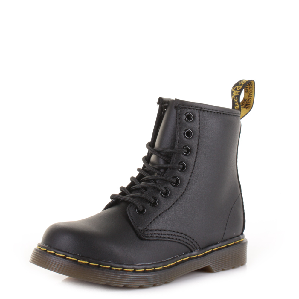 ca39c00aa7a2 Dr Martens Kids Boys Delaney Black Softy T 8 Eye Leather Ankle Dm Boots Size