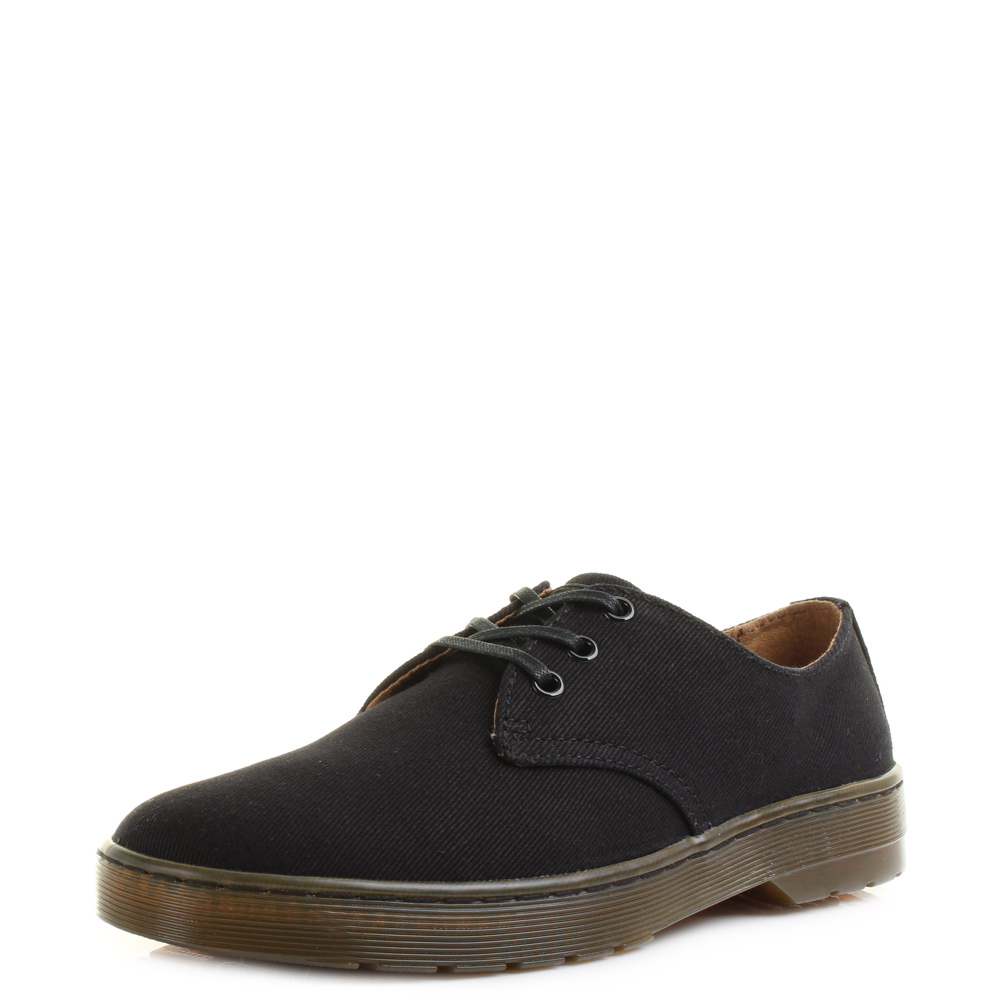 Dr. Martens Delray 3-Eye Mens Black Overdyed Twill Canvas N865745BS Shoes
