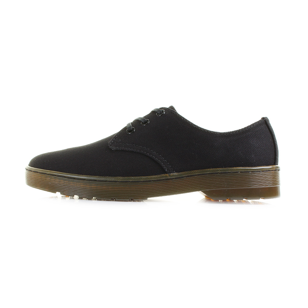 Mens Dr Martens Delray Overdyed Twill Canvas Black Lace Up DM Shoes Sz Size.  Part of our Cruise collection, Delray is a sleek and simple 3-eye shoe  crafted ...