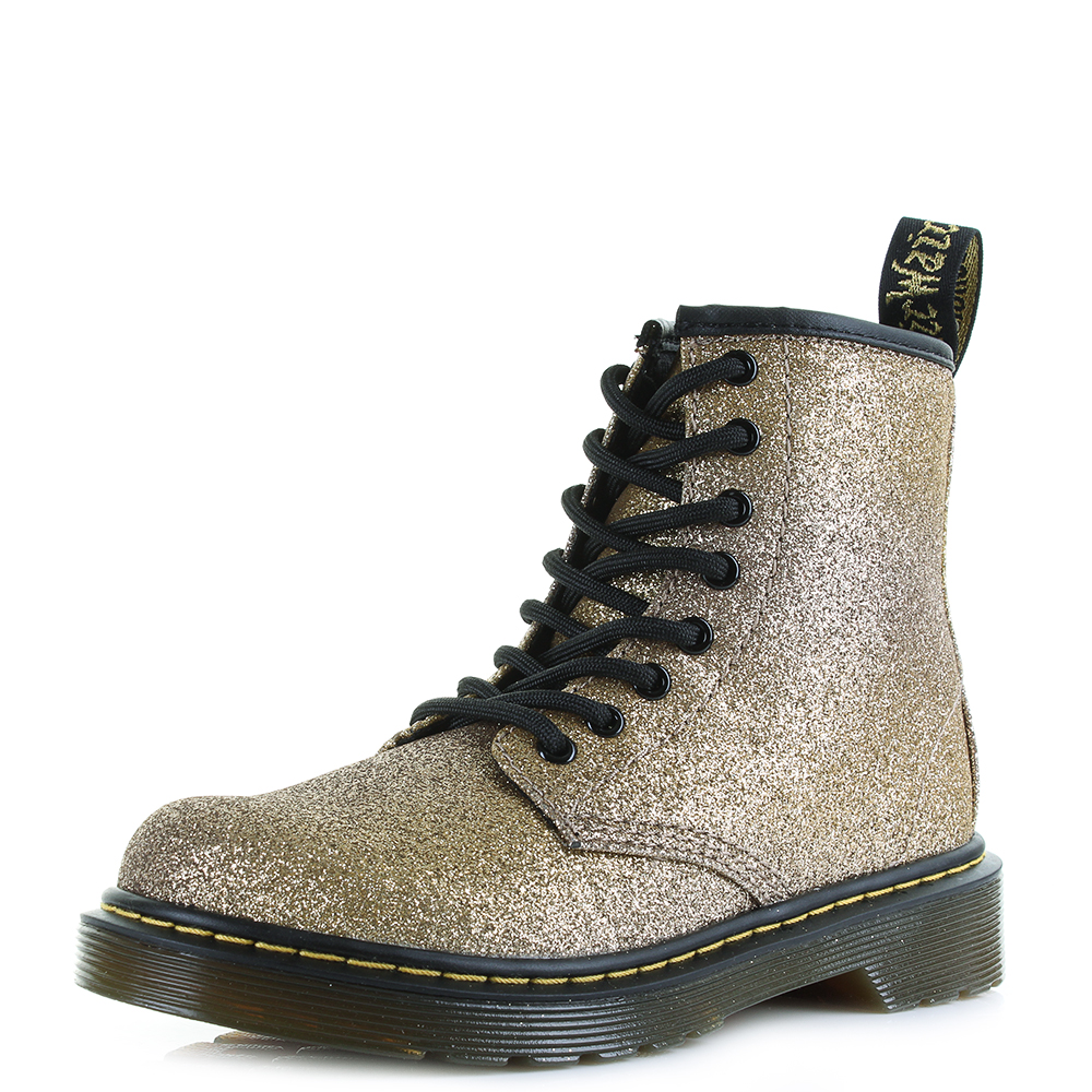 01bb6843a0844 Details about Kids Girls Dr Martens Delaney GLTR Gold Multi Glitter Ankle  Boots Shu Size