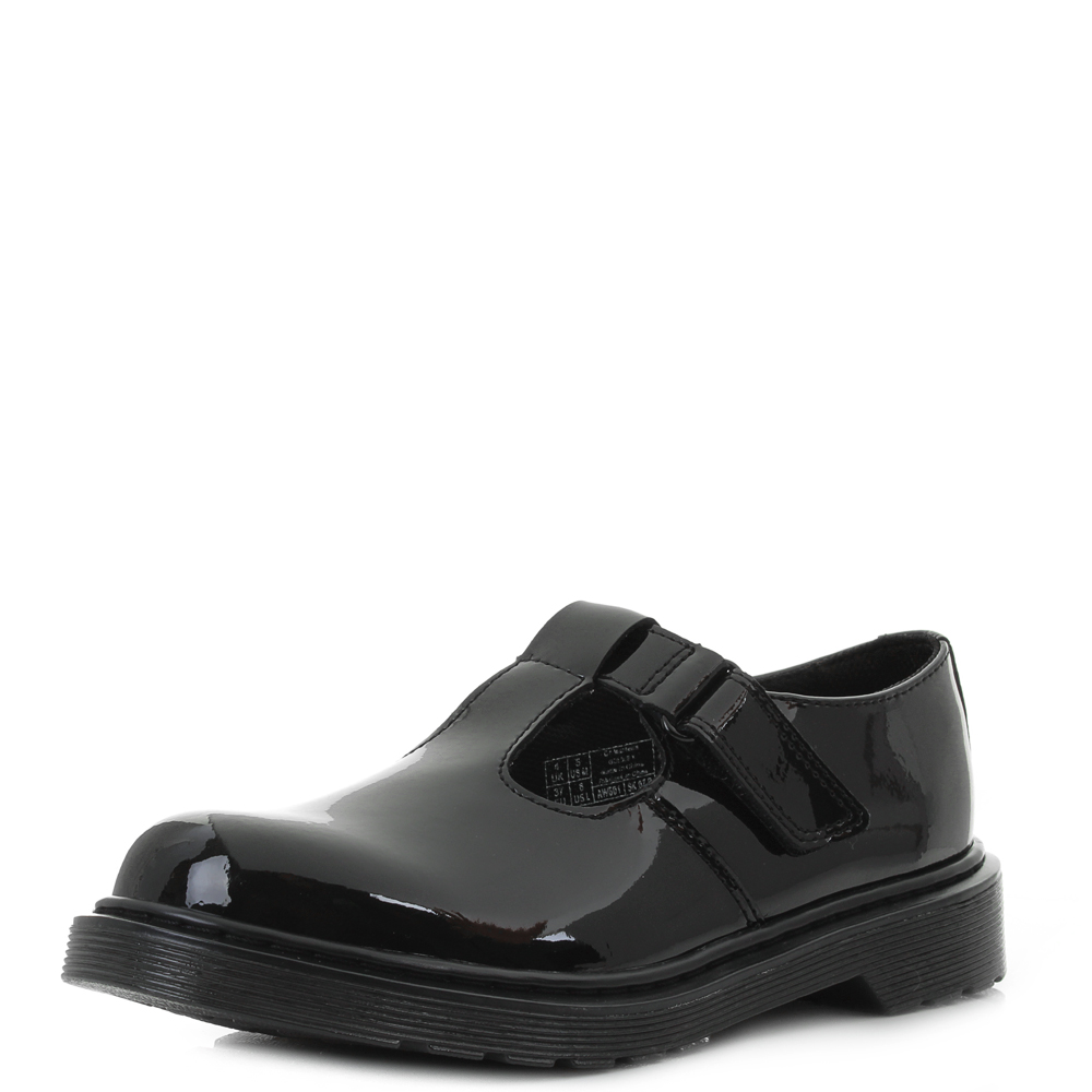 Dr Martens Goldie Youth Girls Black Patent Leather Shoe Shoes Shu