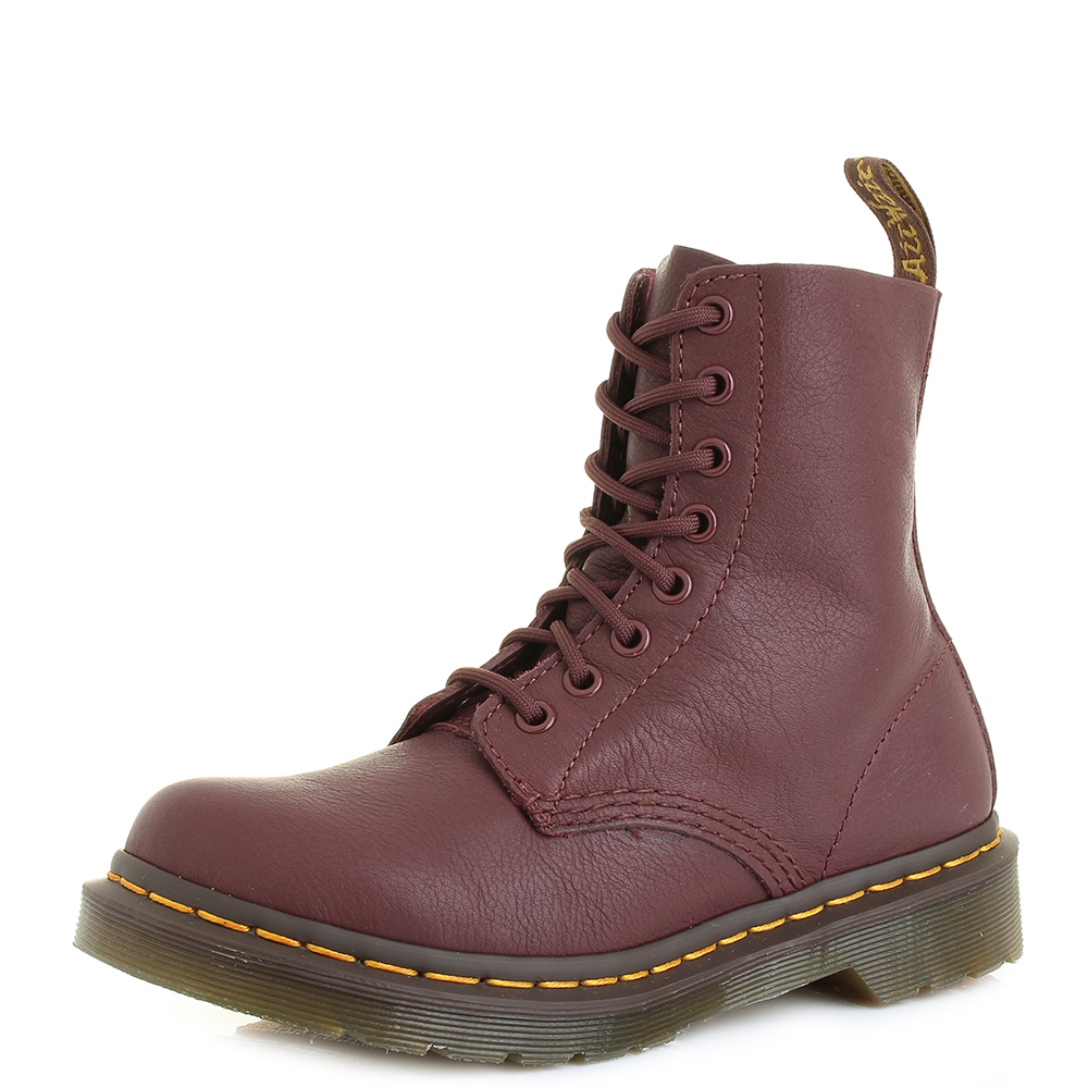 991d539d5a748 Womens Dr Martens Pascal Virginia Cherry Red Leather 8 Eye DM Boots Size