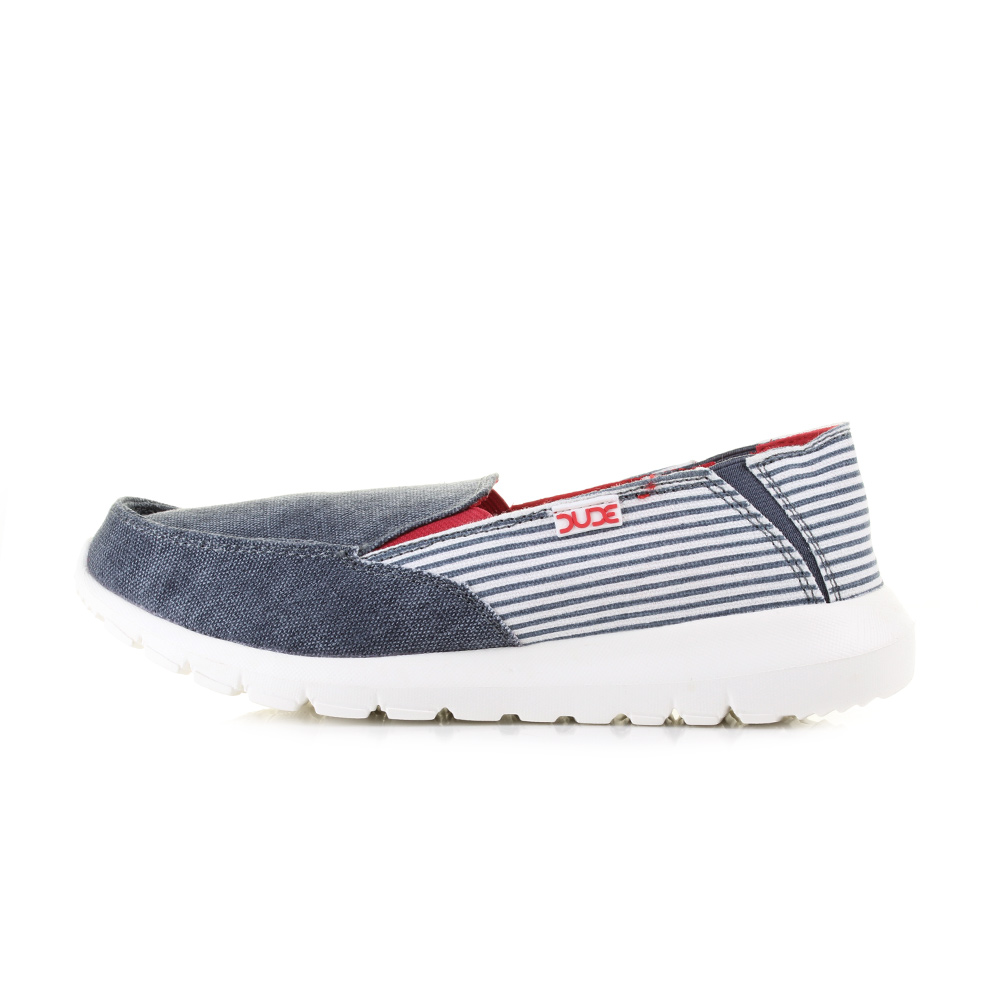 Dude Stripe Size Shoes Slip Ava Womens About Hey Details Ladies Marine On Comfort UMSzVLqGp