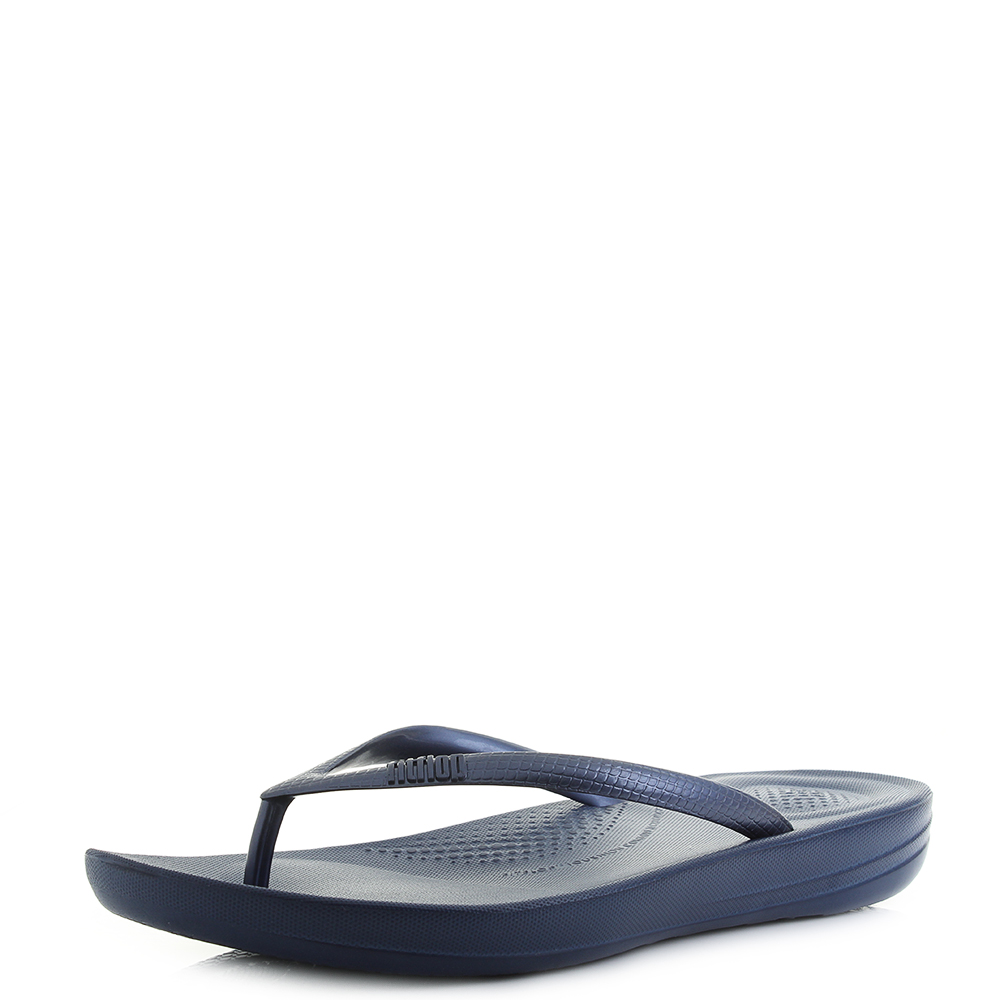 00e1498ab74ac1 Details about Womens Fitflop Iqushion Ergonomic Flip Flop Midnight Navy  Sandals UK Size