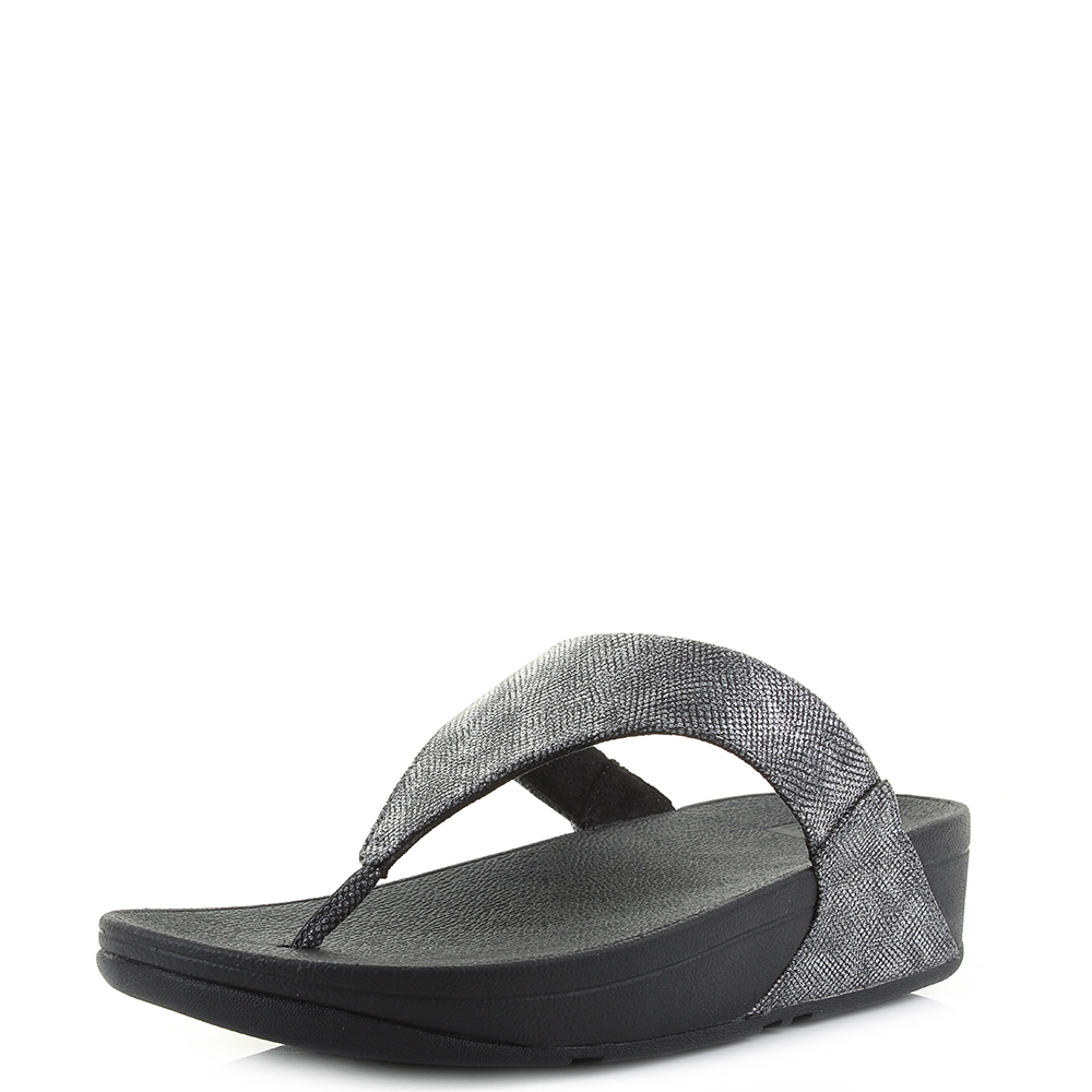 d02c39ae550 Details about Womens Fitflop Lulu Black Shimmer Print Silver Toe-Thong  Sandals Size