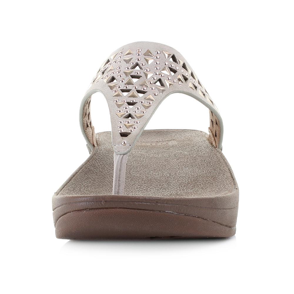 1ecde1302 Womens Ladies Fitflop Carmel Toe-Post Rose Gold Suede Wedge Flip Flops Uk  Size