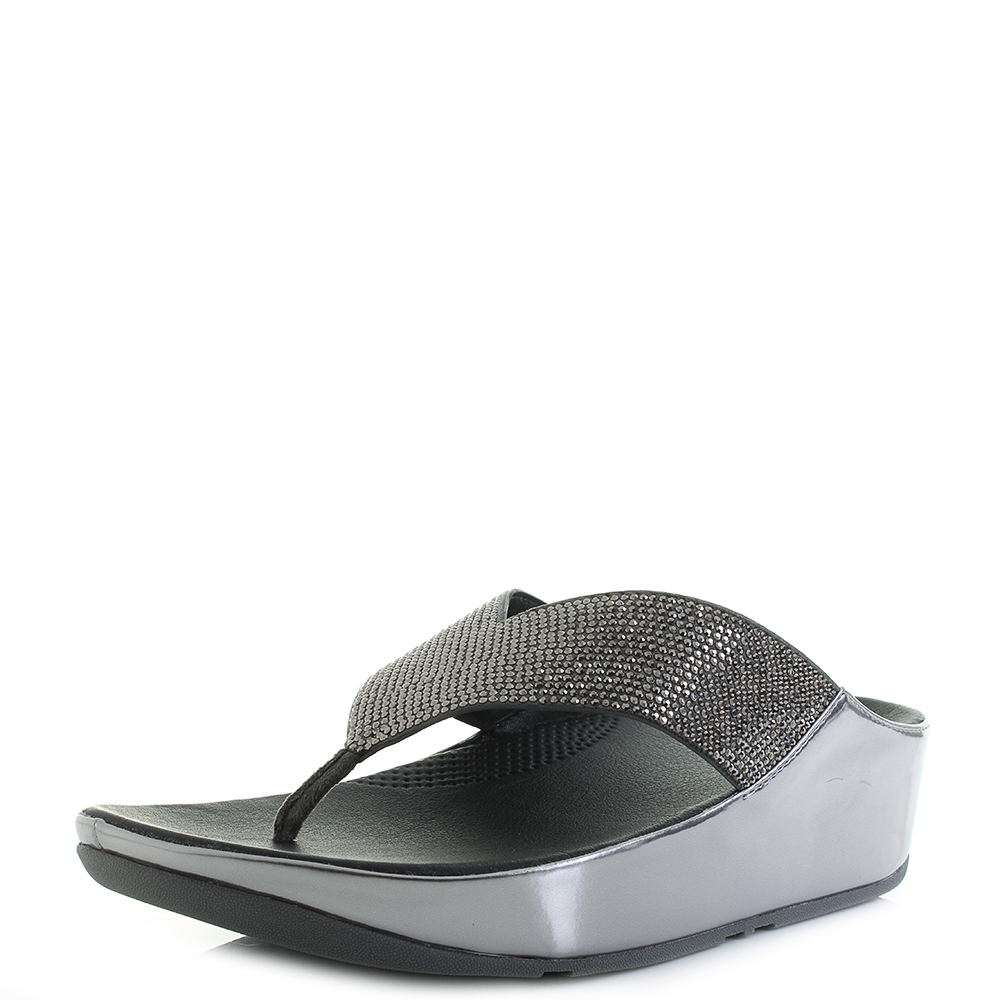 c404a4979 Womens Fitflop Crystall Metallic Pewter Low Wedge Sandals Shu Size ...