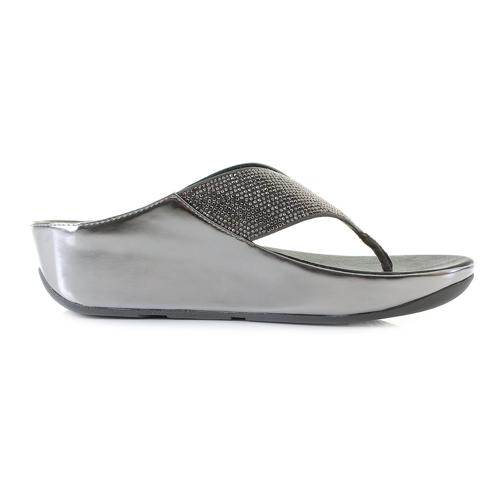 ed67aab1bf9417 Womens Fitflop Crystall Metallic Pewter Low Wedge Sandals Size