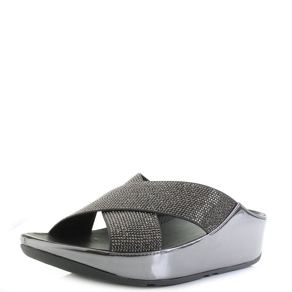 FitFlop Crystall Slide Sandals Colour: Metallic Pewter, Size: UK6