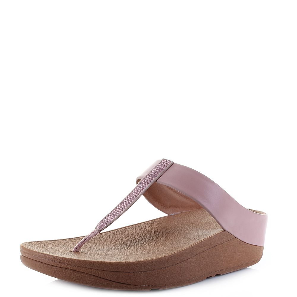 bde9f73b4 Details about Womens Fit Flop Fino Crystal Toe-Post Dusky Pink Low Flat  Sandals Size
