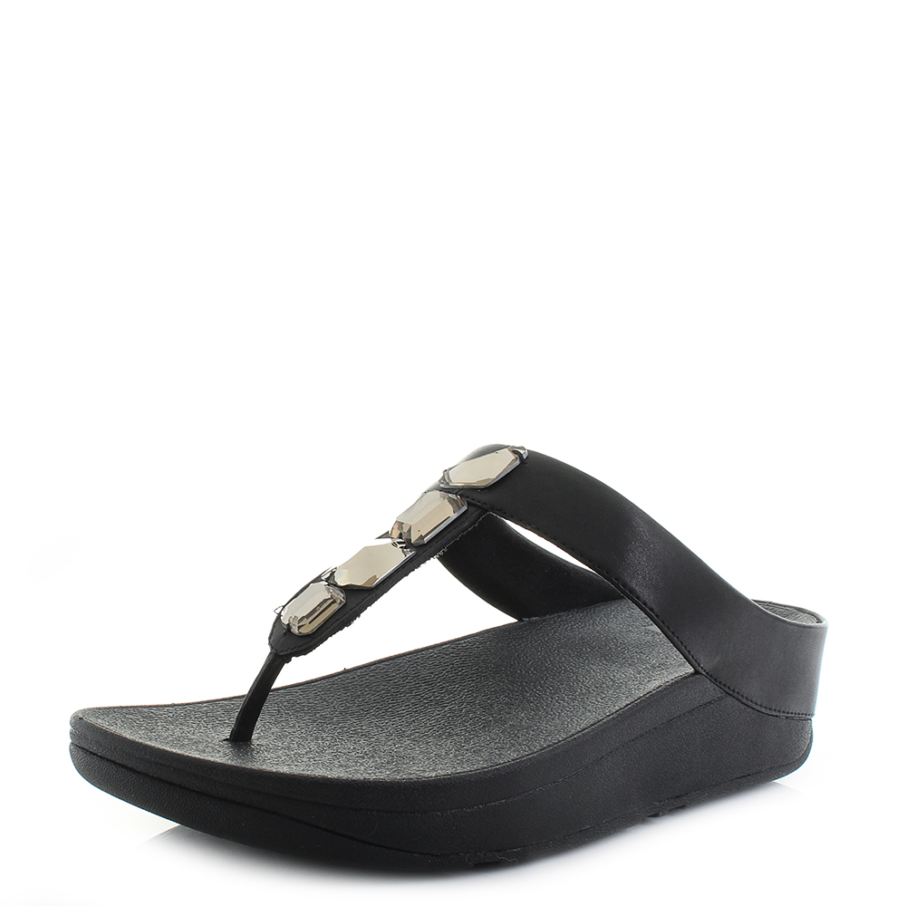 940ee20c36f72 Details about Womens Fit Flop Roka Toe-Thong Leather Black Low Wedge Sandals  Shu Size