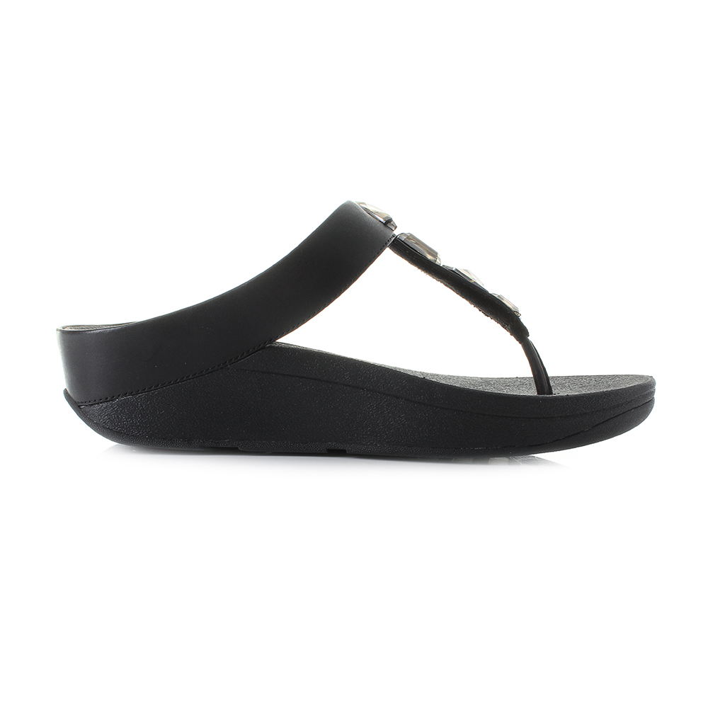 7aa49785a9d6 Womens Fit Flop Roka Toe-Thong Leather Black Low Wedge Sandals UK Size