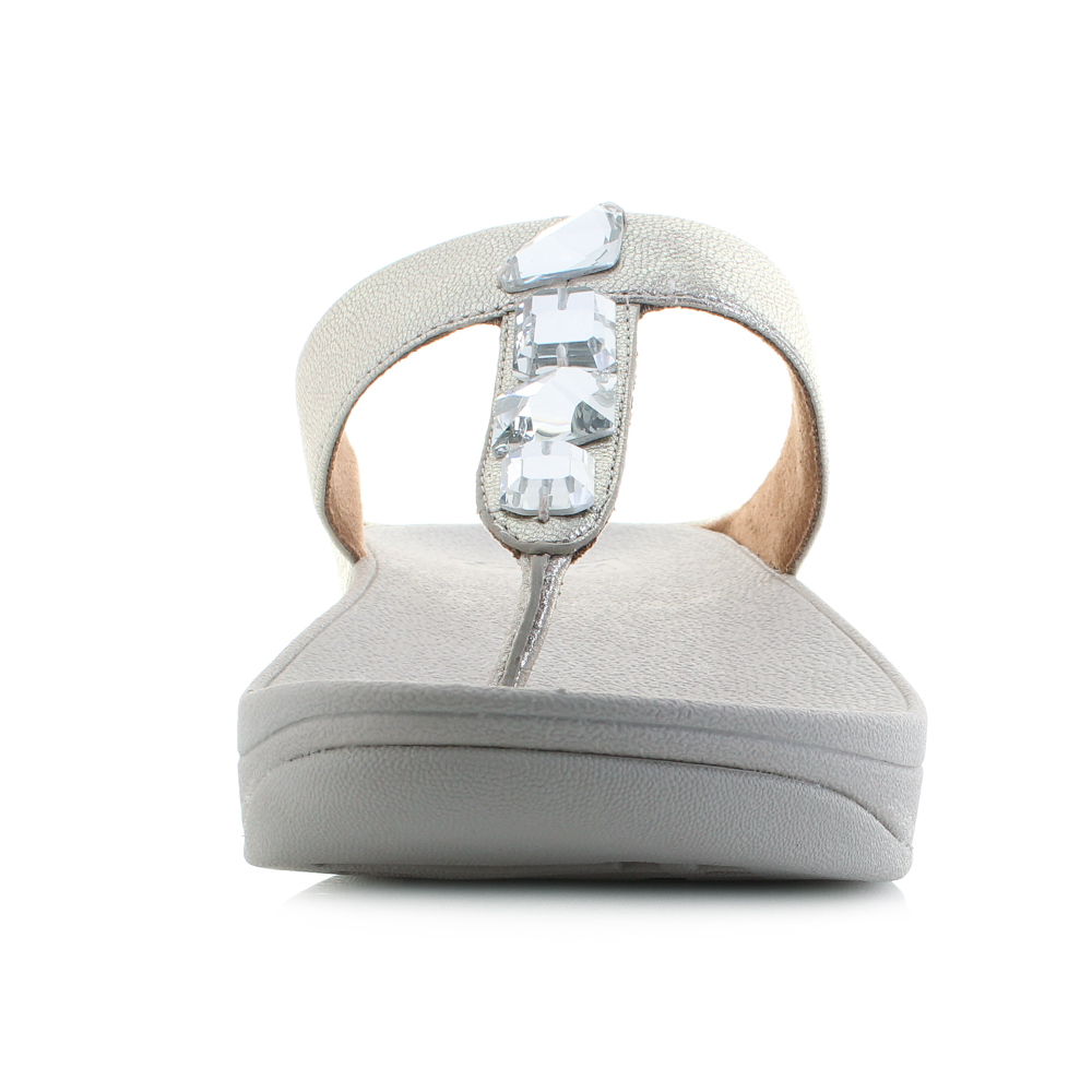d621a932e01c6 Womens Roka Toe-Post Leather Silver Low Wedge Sandals Shu Size
