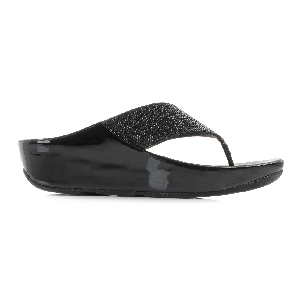 333b039266a Womens FitFlop Crystall Black Glitter Comfort Wedge Flip Flop ...