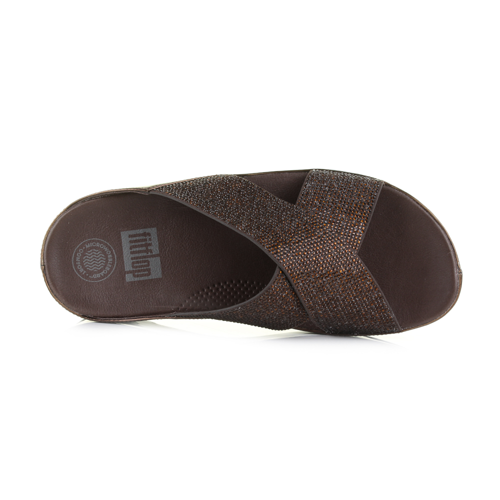 Womens Fitflop Crystall Slide Bronze Wedge Metallic