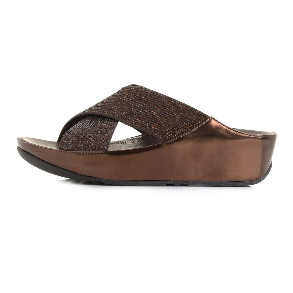 da7c0a6624f Womens FitFlop Crystall Slide Bronze Wedge Metallic Crossover ...