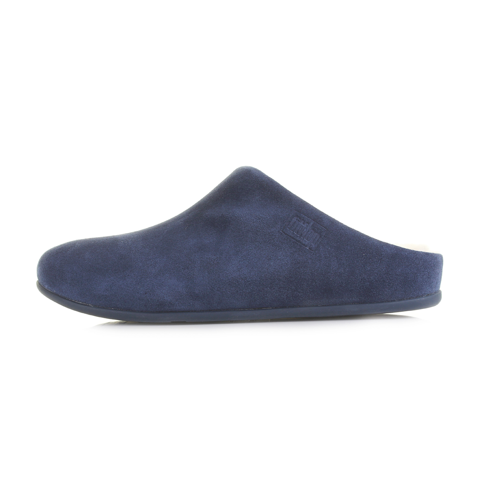 3267117ef Womens Fitflop Chrissie Shearling Suede Leather Midnight Navy Slippers Shu  Size