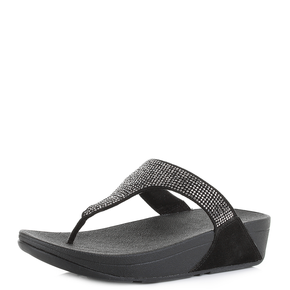 e95d384bafcc Details about Womens FitFlop Slinky Rokkit Black Suede Crystal Wedge Sandals  Flip Flop Size