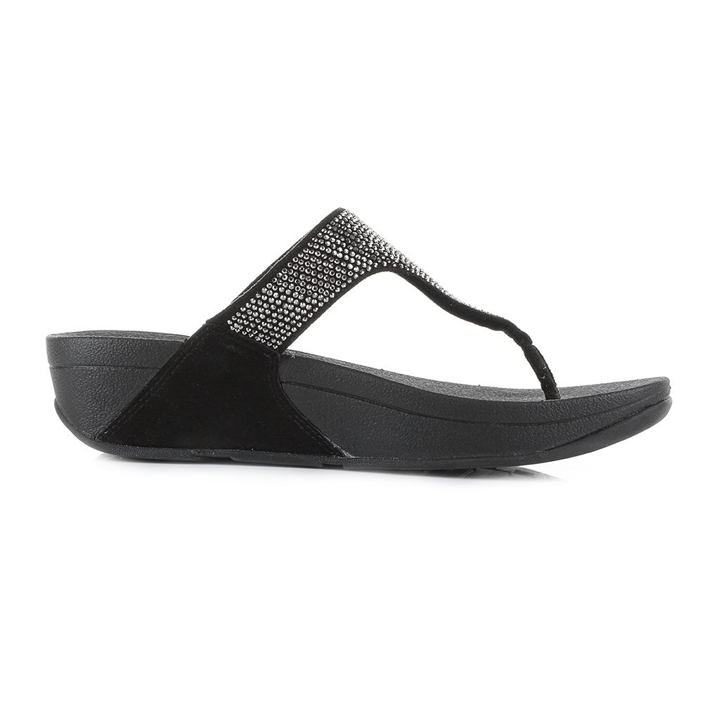 cdff9ac0c54bca Womens FitFlop Slinky Rokkit Black Suede Crystal Wedge Sandals Flip Flop  Size