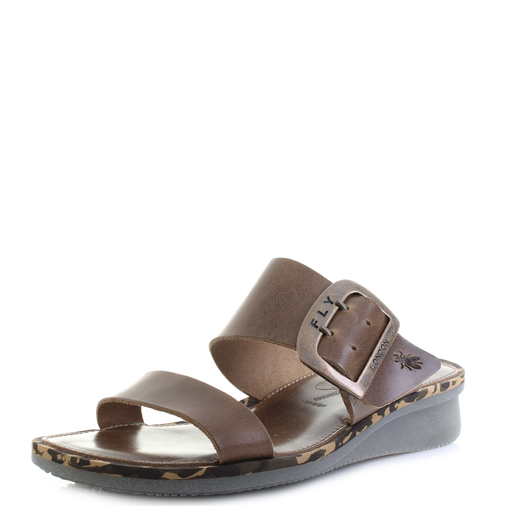 fa580388e7abd Womens Fly London Cape Bridle Camel Brown Leather Wedge Sandals UK Size
