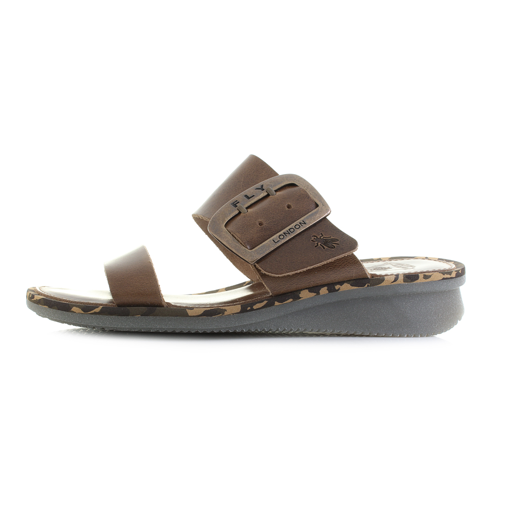 defe57b3077e Womens Fly London Cape Bridle Camel Brown Leather Wedge Sandals Shu Size