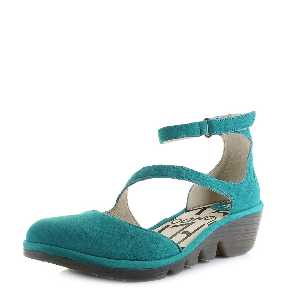 2e05323e2fe Details about Womens Fly London Plan Cupido Leather Verdigris Green Ankle  Sandals Size