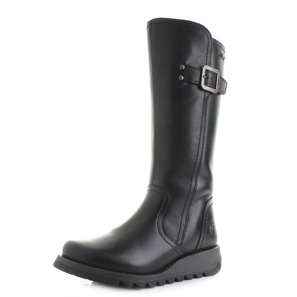 48f1ed5b936 Details about Womens Fly London Shap Black Rug Leather Goretex Boots Size