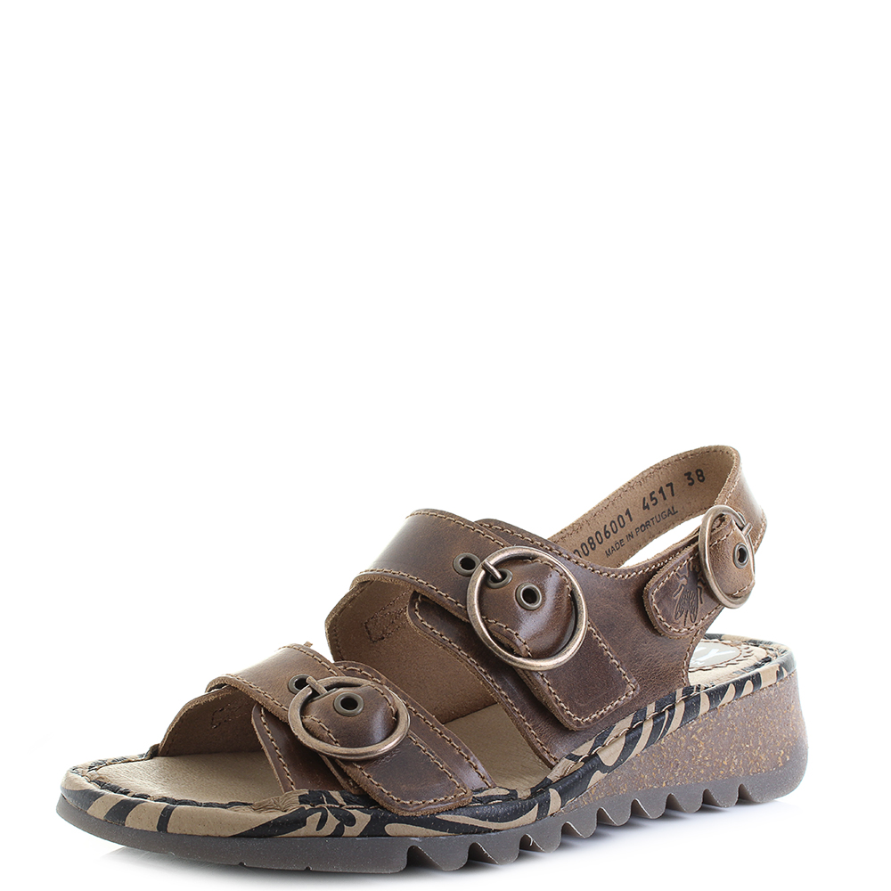 caf3fcea770a Womens Fly London Tear Bridle Camel Leather Flat Low Wedge Sandals Sz Size