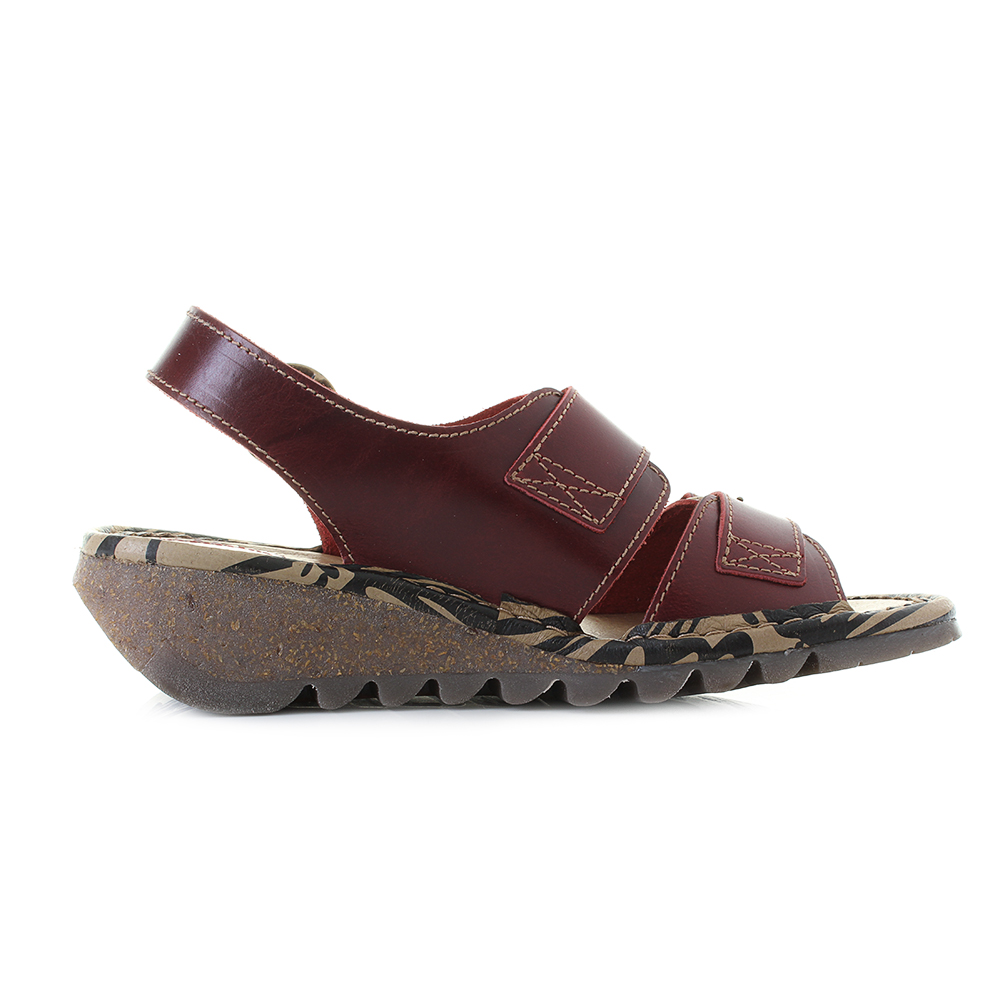 c9a8bc2a3ed6 Womens Fly London Tear Bridle Red Leather Flat Low Wedge Sandals Shu Size