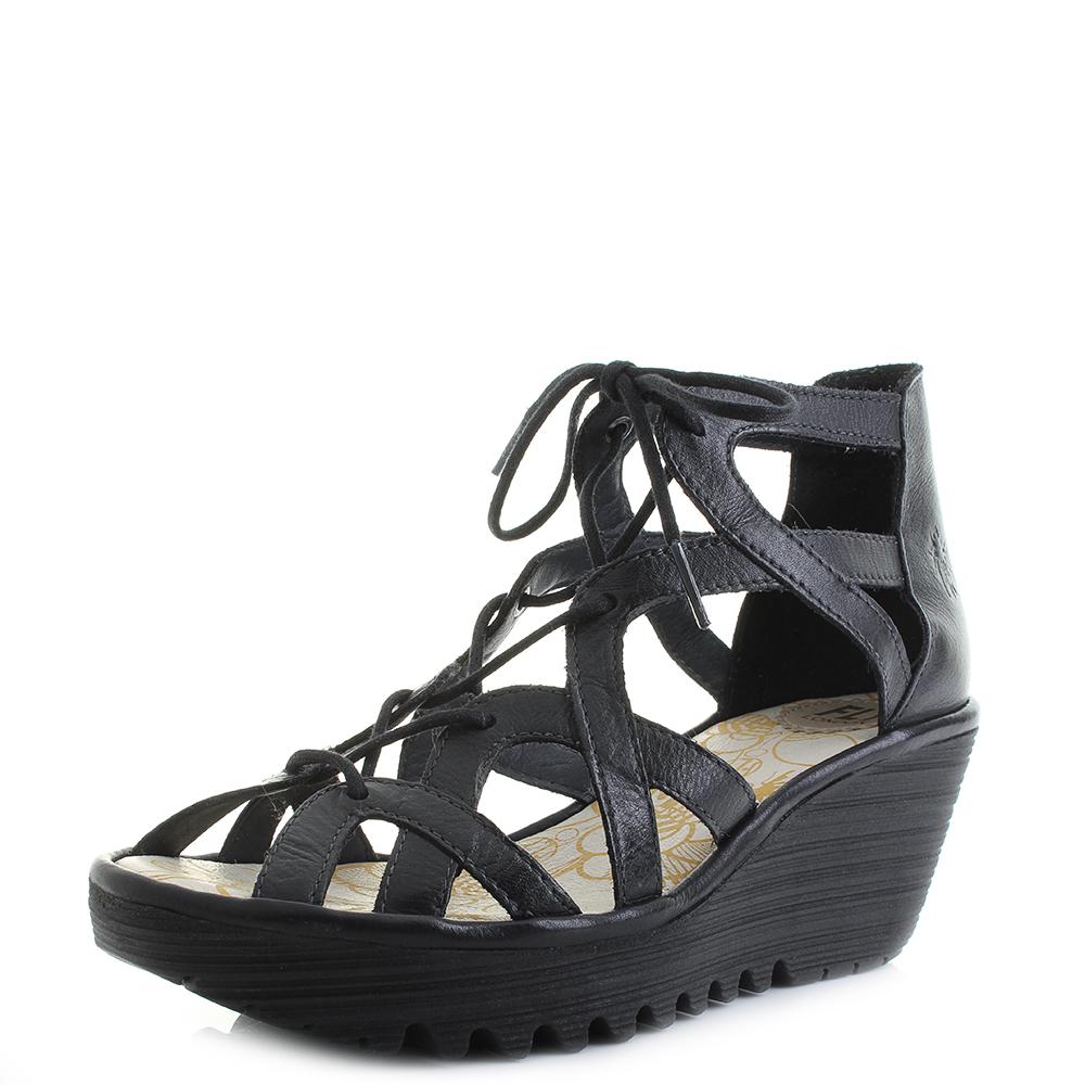 Womens Fly London Yeli Colmar Black Wedge Heel Lace Up Platform Sandals UK  Size