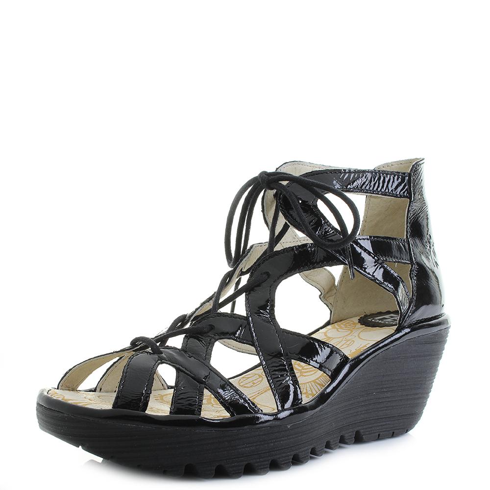 b74bae972c901 Womens Fly London Yeli Luxor Black Lace up Wedge Heel Sandals Shu Size