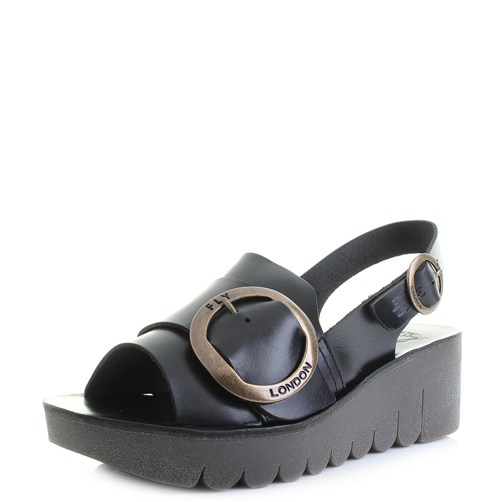 ddd54b23412 Details about Womens Fly London Yidi Bridle Black Leather Flatform Wedge  Sandals Shu Size