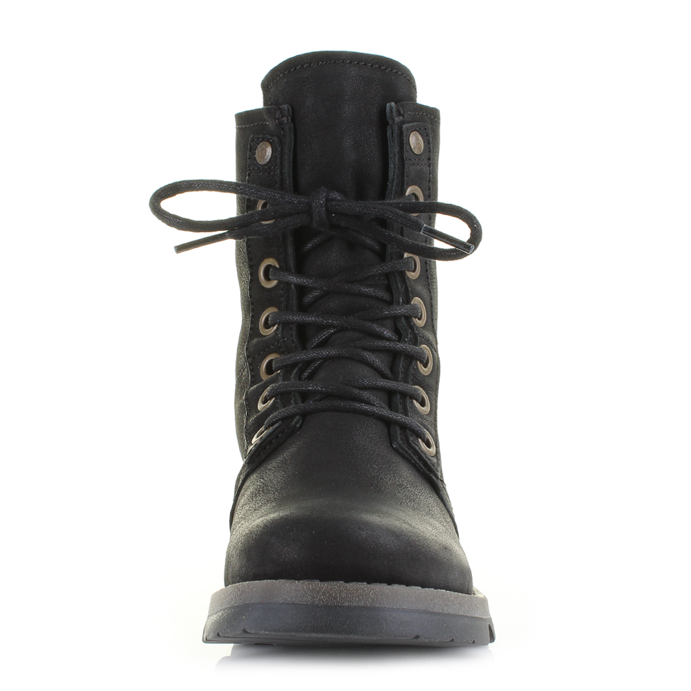womens fly suti cupido black leather lace up ankle boots