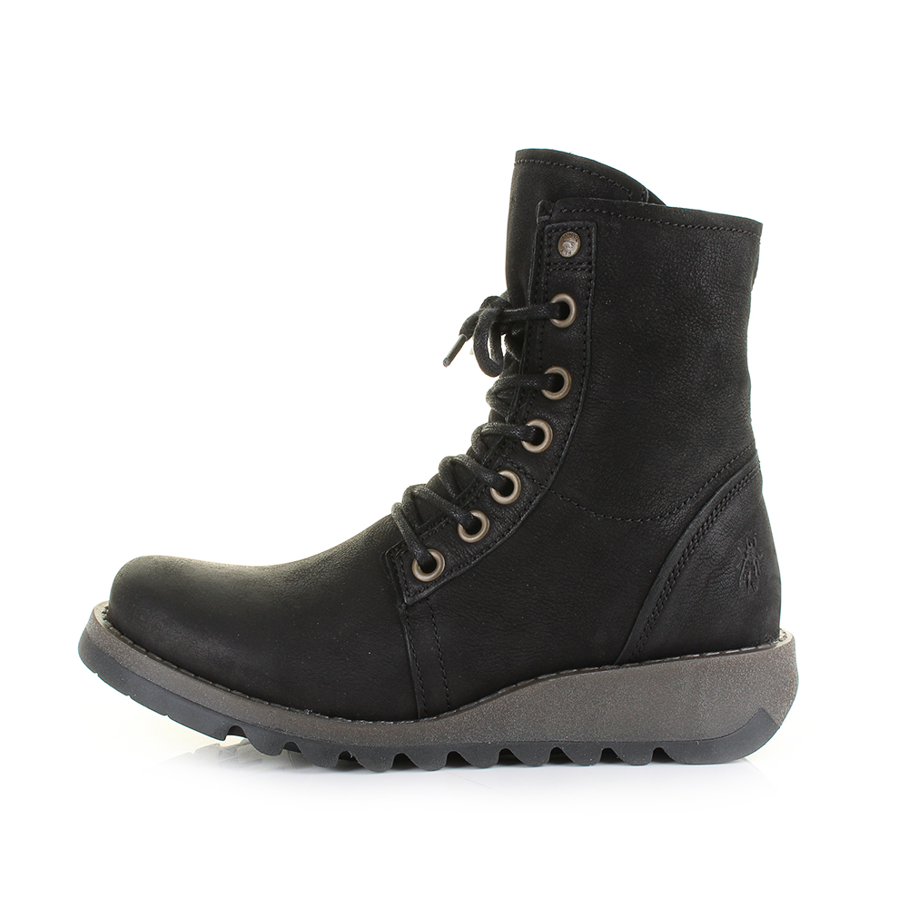 108e9548b2e Details about Womens Fly London Suti Cupido Black Leather Lace Up Ankle  Boots Size