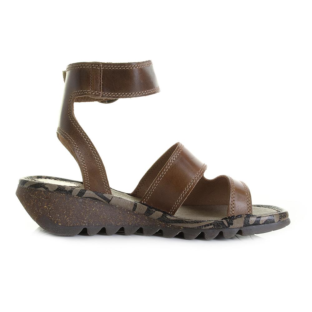 Damenschuhe Fly London Tily Camel Leder Wedge Sandales Heel Ankle Strap Sandales Wedge ... 72ca99