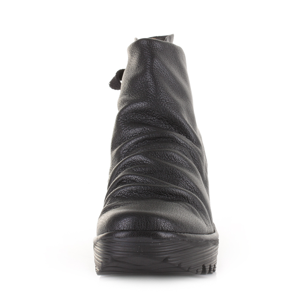 Fly London Yama Black Leather Womens Wedge Ankle Shoes Boots