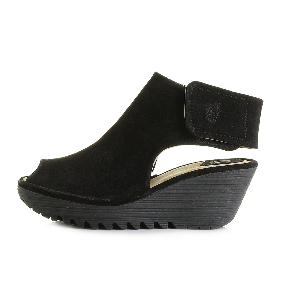 FLY London Peep-Toe Leather Wedge Sandals - Yone low shipping fee cheap price 100% original sale order sale official amazon sale online 7M1IPFWEU