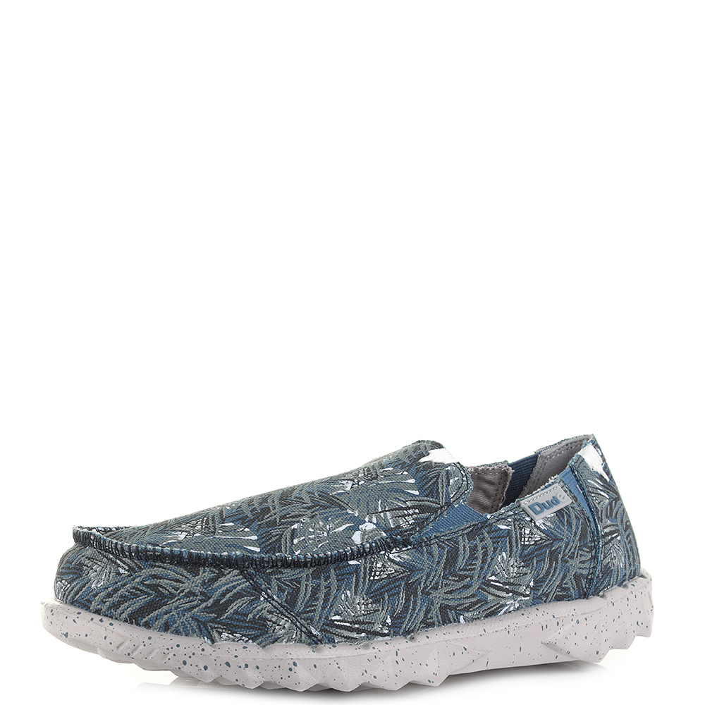 Mens Dude Shoes Farty Print Blue Jungle Slip On Casual Loafers UK Size