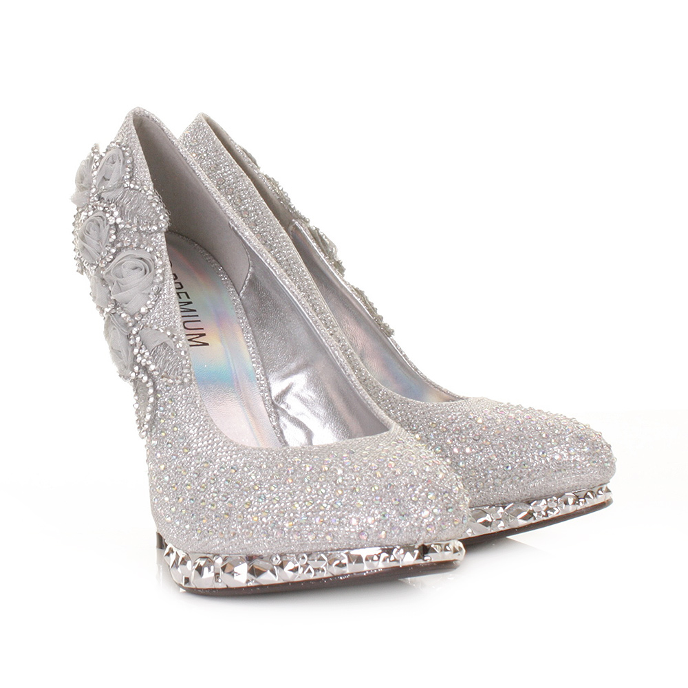 silver shoes for a wedding womens silver flower platform high heel 7442