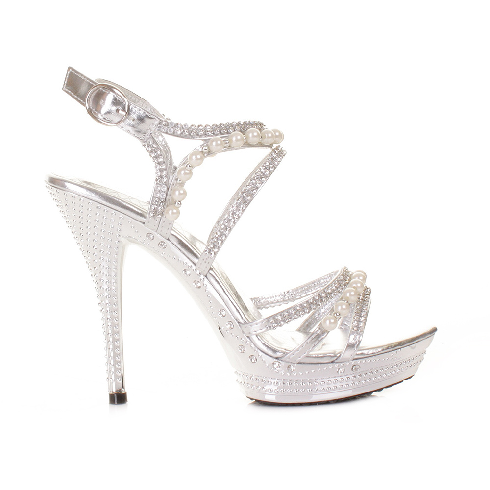 985bfd351a7 Womens silver diamante wedding party pearl high heel platform shoes size  jpg 1000x1000 Pearl platform heels