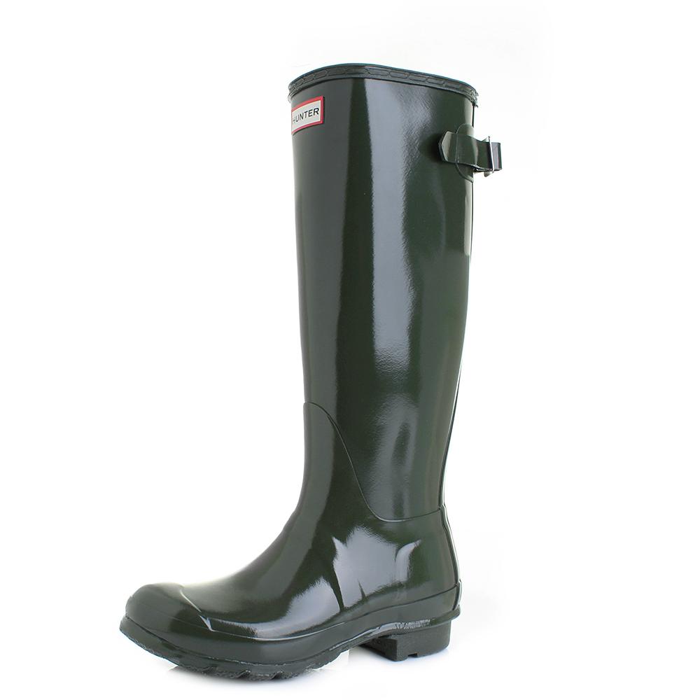 Womens Hunter Back Adjustable Gloss Dark Olive Wellington Wellies Boots Size 0841098a66