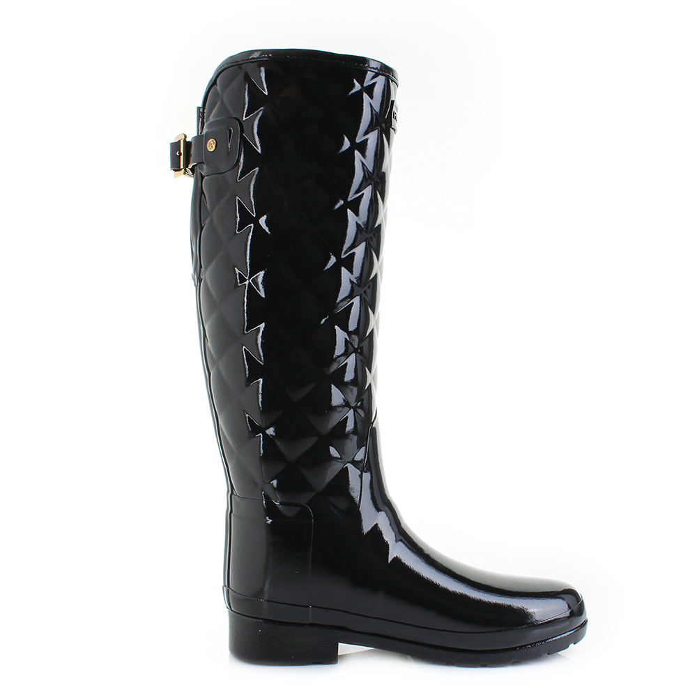 Womens Hunter Refined Tall Quilted Black Gloss Wellies