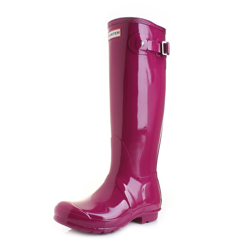 Womens Hunter Original Tall Gloss Dark Ion Pink Wellies Wellington Boots  Size