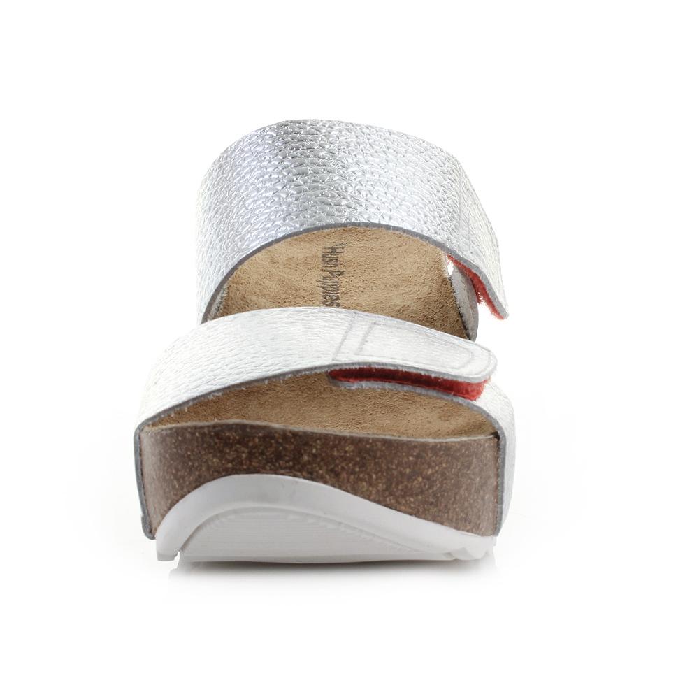 880abb1f2020f Womens Hush Puppies Bel Sana Silver Metallic Leather Wedge Heel Sandals Size
