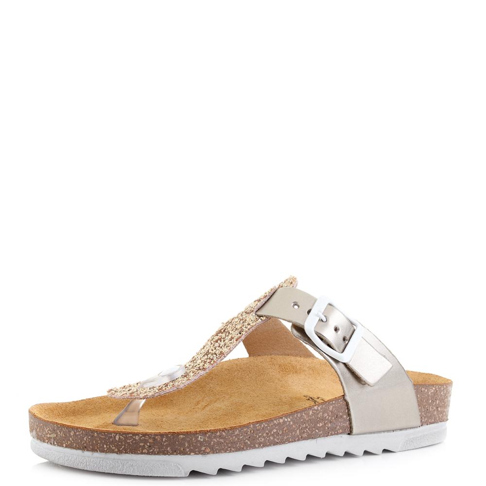 ff6b2fd9e384 Womens Inblu NS03 Metallic Platinum Glitter T Post Sandals UK Size ...